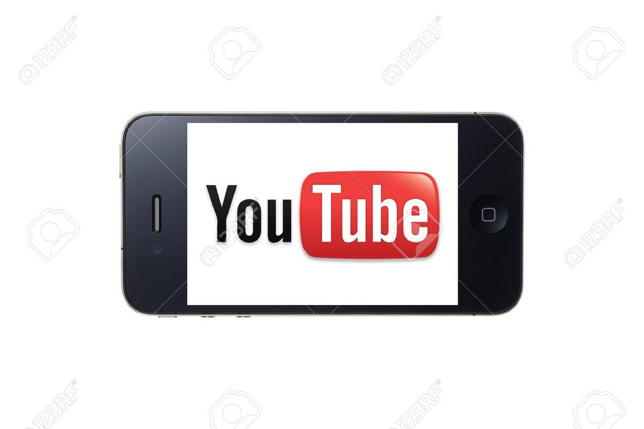 You Tube logo displayed on iphone 4s screen Stock Photo - 12147527