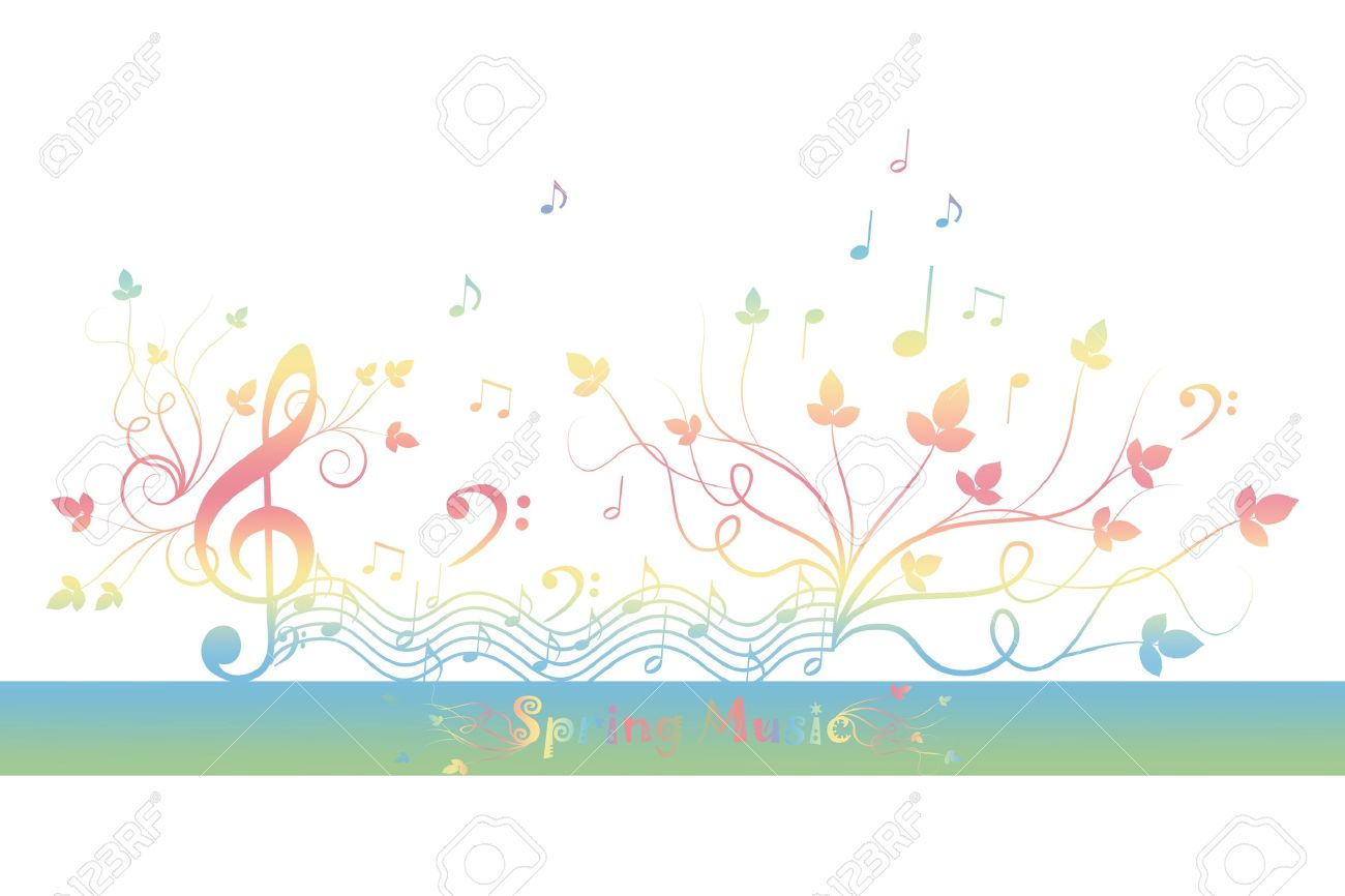 beautiful background of spring floral and music royalty free