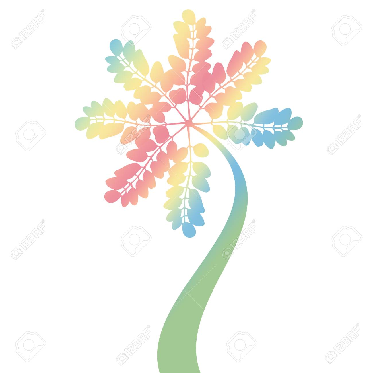 colorful art tree silhouette isolated on white background Stock Vector - 13352746