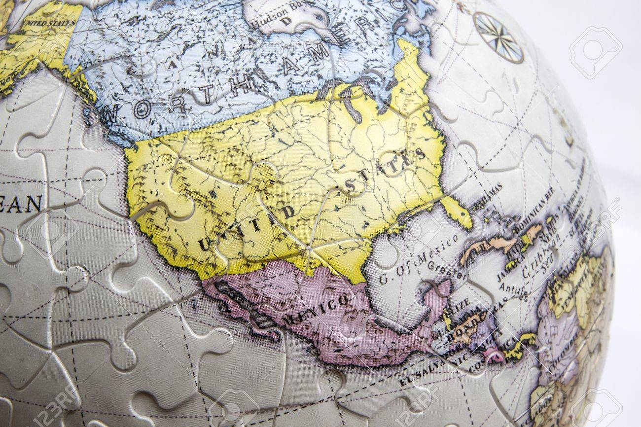 United States Map Closeup On A Globe Stock Photo, Picture And