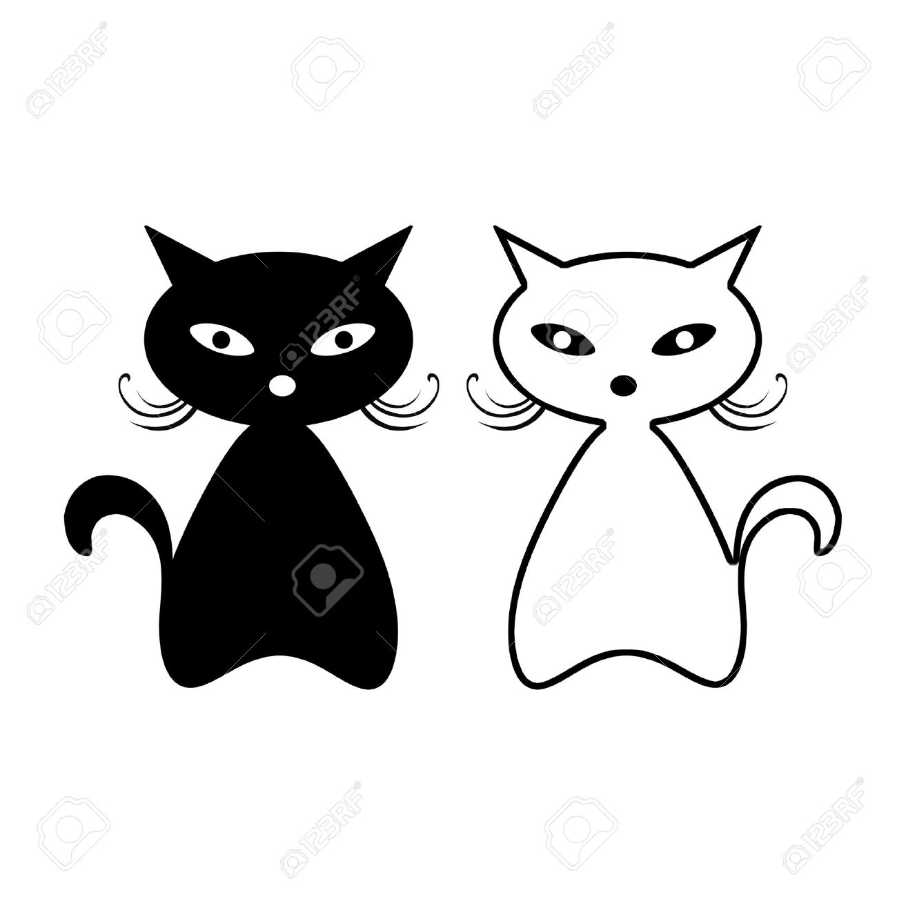 Black cat silhouette isolated on white background Stock Vector - 15439152