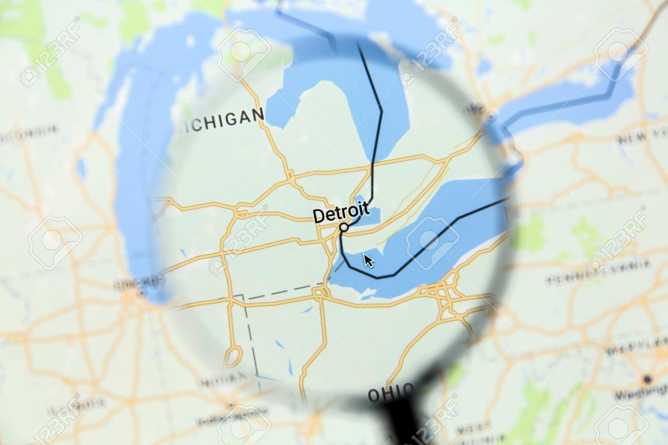Ostersund, Schweden - 17. Januar 2017: Detroit Auf Google Maps Unter on