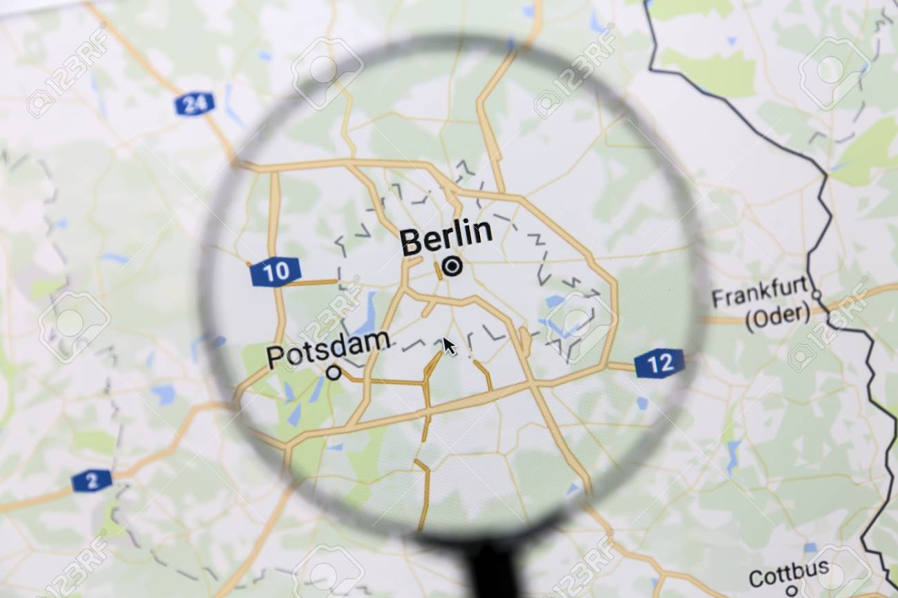 Berlin On Google Maps Under A Magnifying Glass. Berlin Is The ...
