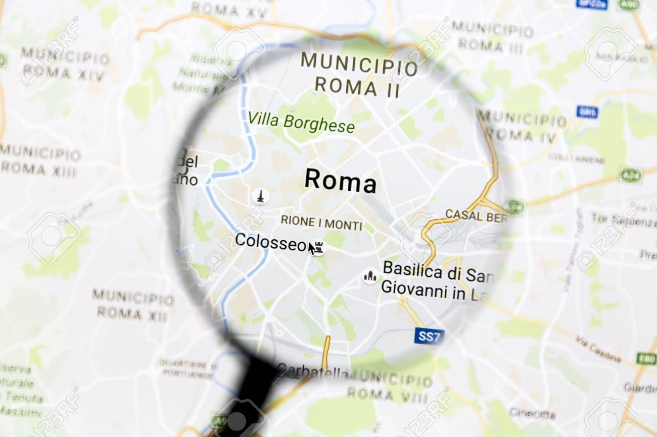 Rome On Google Maps Under A Magnifying Glass. Rome Is The Capital ...