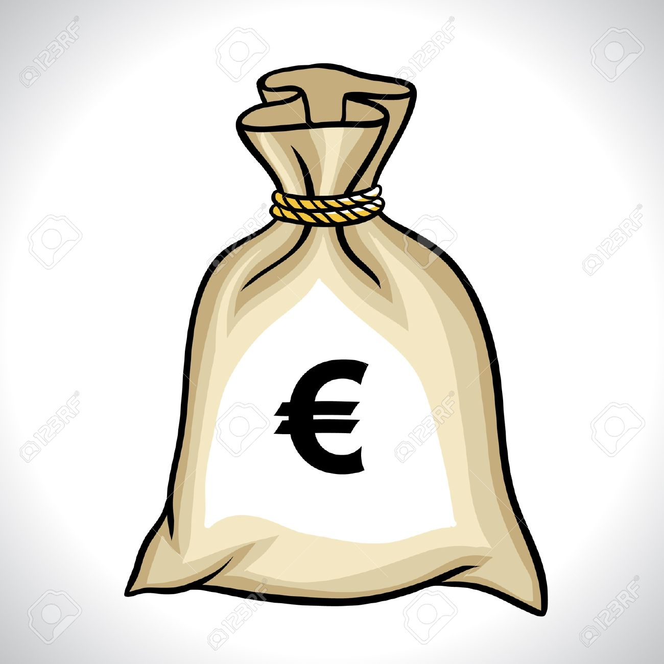 Money Bag With Euro Sign Vector Illustration Royalty Free Cliparts