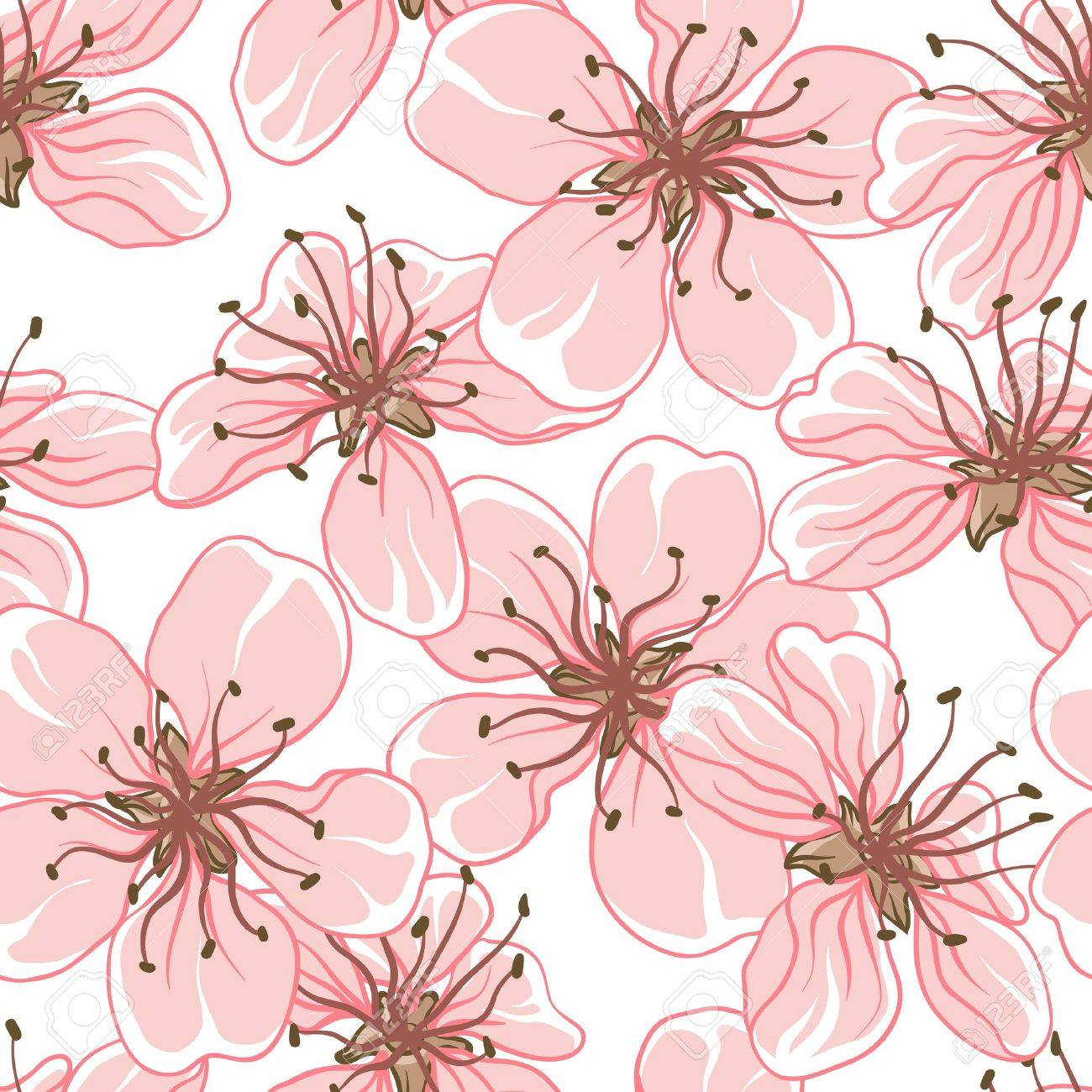 Cherry blossom background   Seamless flowers pattern Stock Vector - 13397176