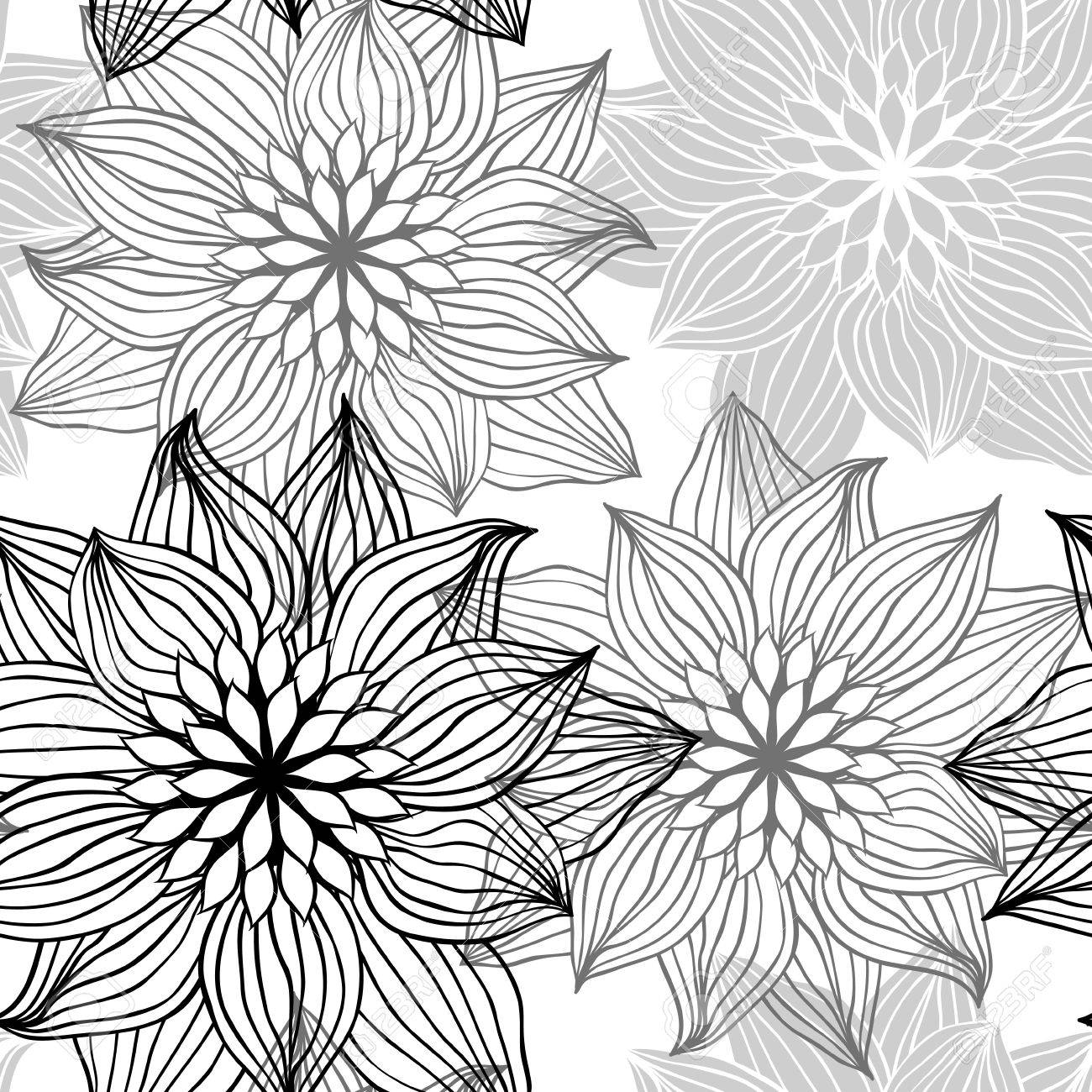 Seamless Pattern With Hand Draw Flowers Floral Illustration Royalty