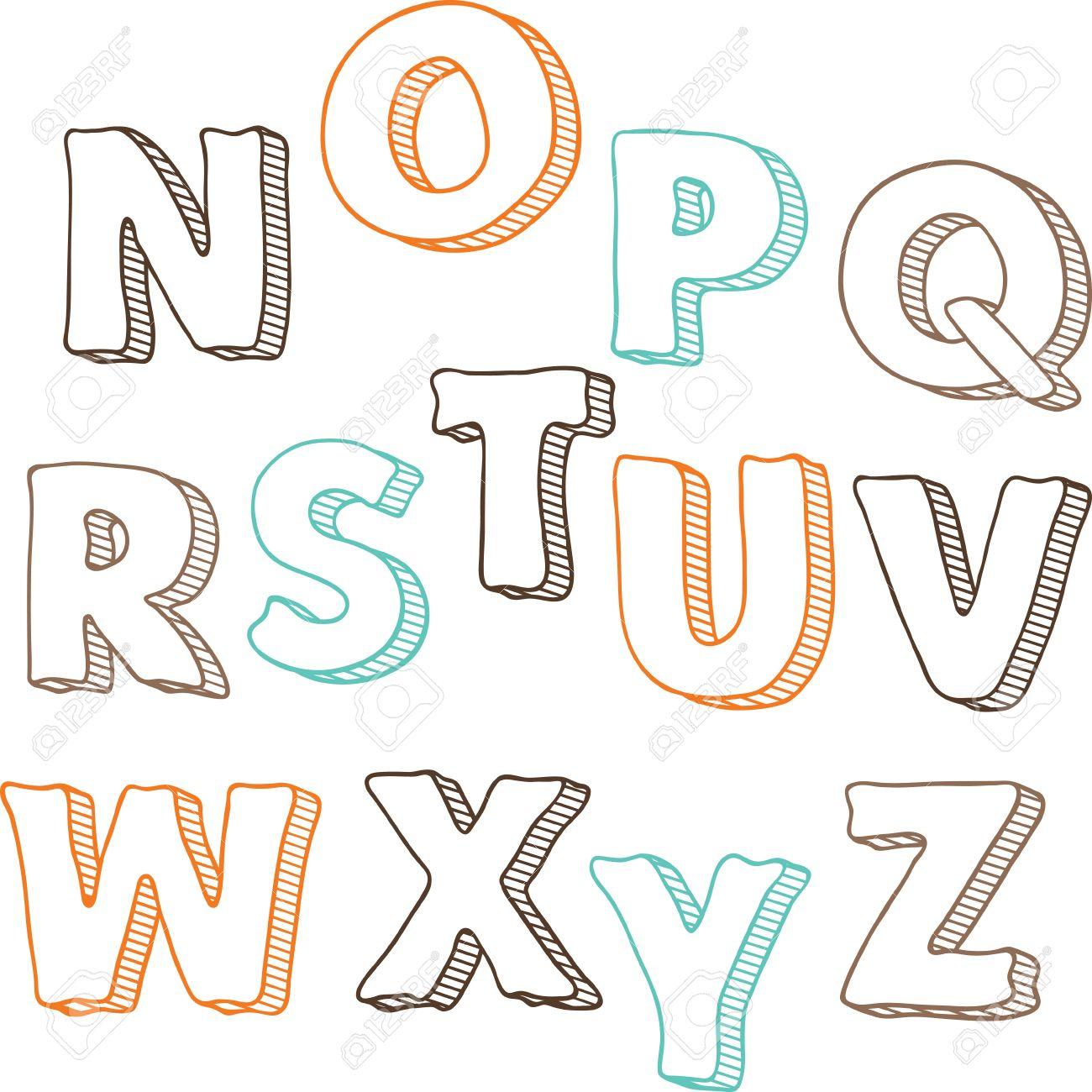 かわいい手描きフォント文字セット n から z ロイヤリティフリー