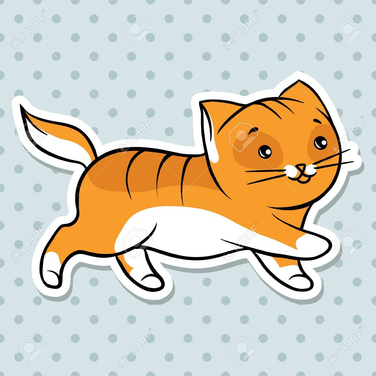 Red Cute Funny Cat Run Vector Illustration Royalty Free Cliparts Vectors And Stock Illustration Image 13998977