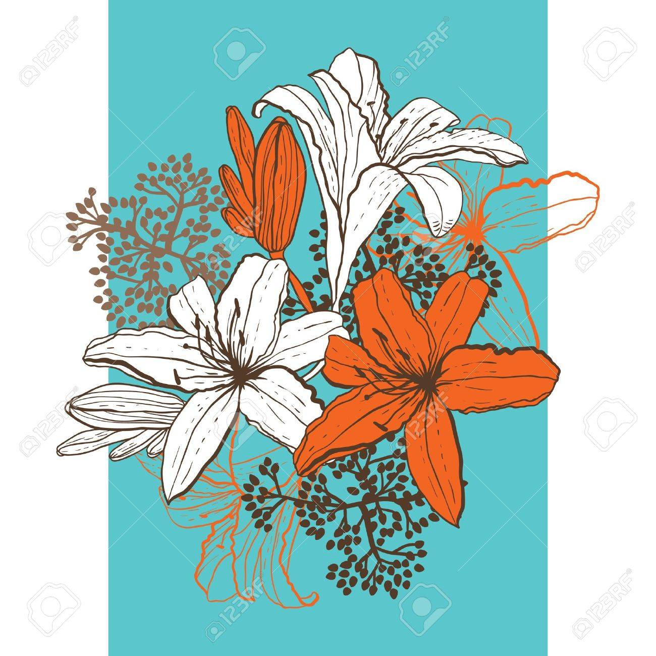 Lily flower abstract vector background template for you design lily flower abstract vector background template for you design stock vector 14388786 dhlflorist Images