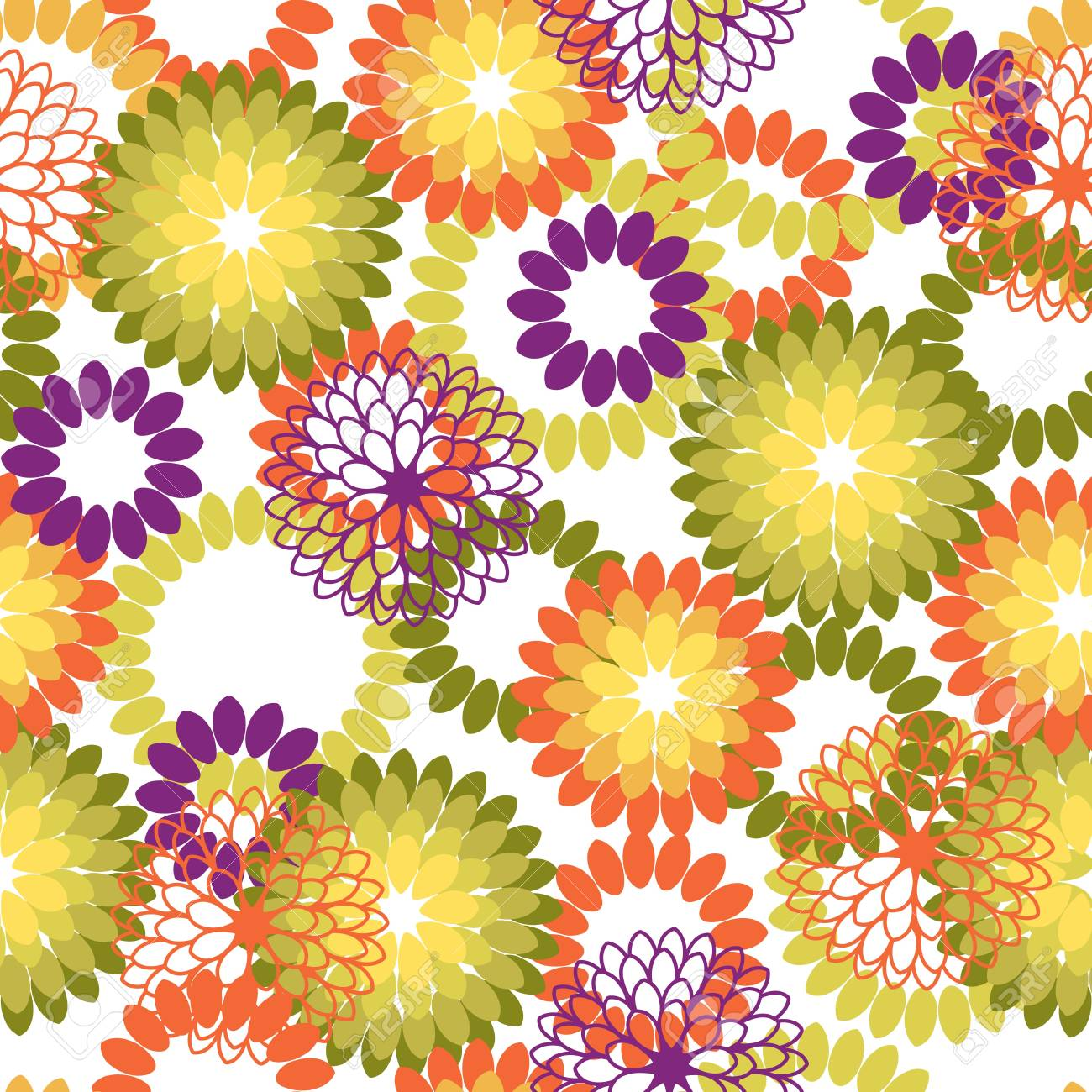 Seamless pattern with abstract flowers  Vector illustration Stock Vector - 14388793