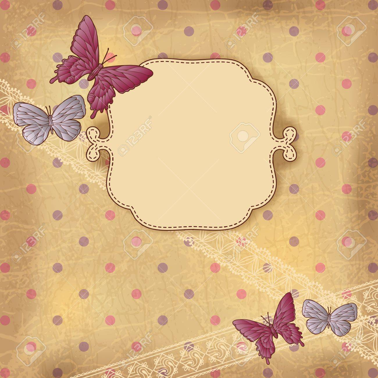 Vintage background with butterflies and lace  Old paper Stock Vector - 14489109