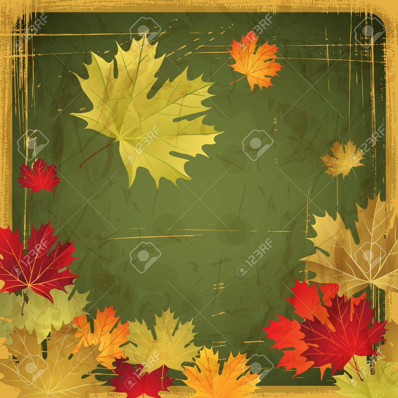 Autumn leaves grunge background Stock Vector - 14751486