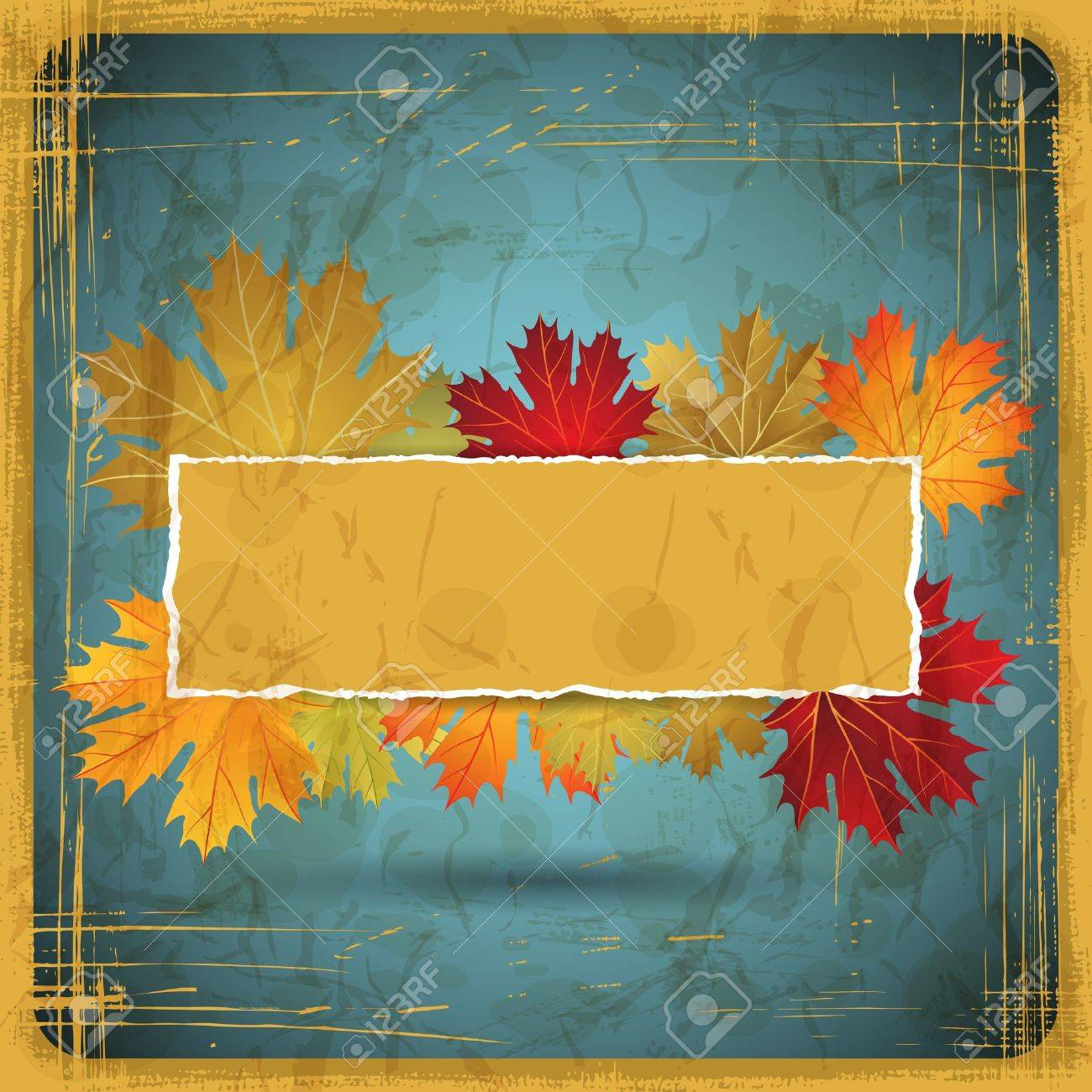 Autumn leaves grunge background Stock Vector - 14751479