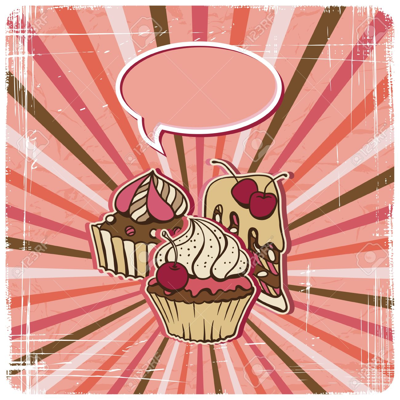 background with of cake in retro style  Vintage card Stock Vector - 14829225
