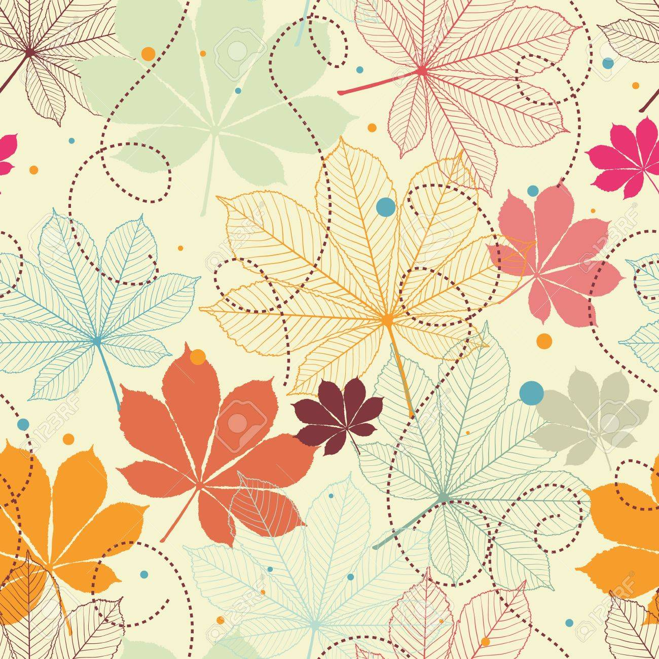 Seamless pattern with autumn leaves in a retro style Stock Vector - 14829380