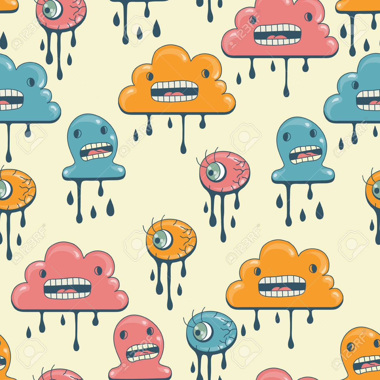 Monsters modern seamless pattern in retro style Stock Vector - 14829292