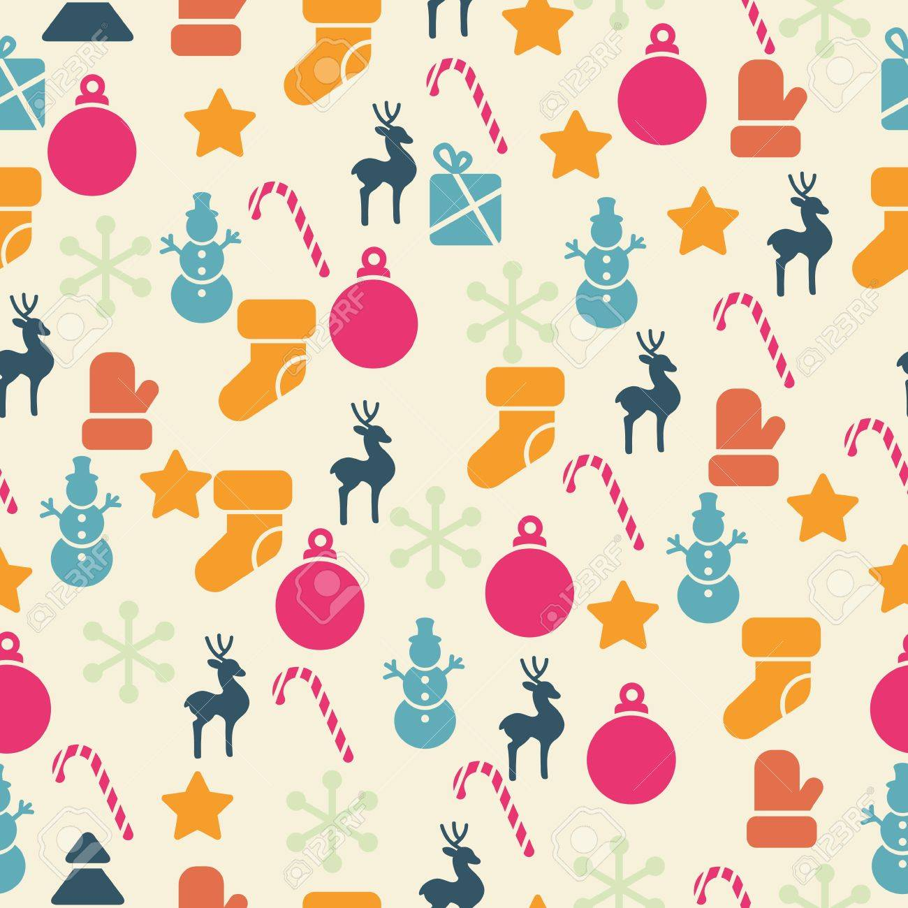 seamless pattern with retro Christmas icons - 15017941