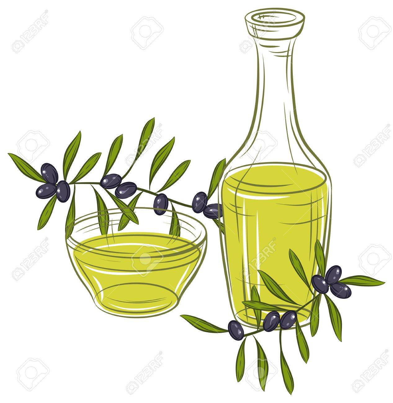 illustration with black olives and bottle of oil Stock Vector - 15308020