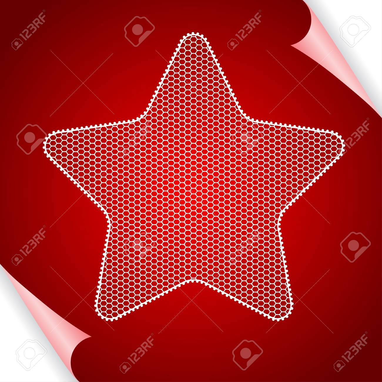 Christmas  background with star of lace Stock Vector - 15348473