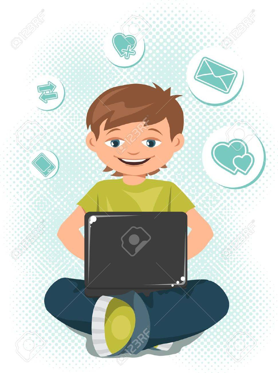 Young teen boy working on a laptop Stock Vector - 15934844