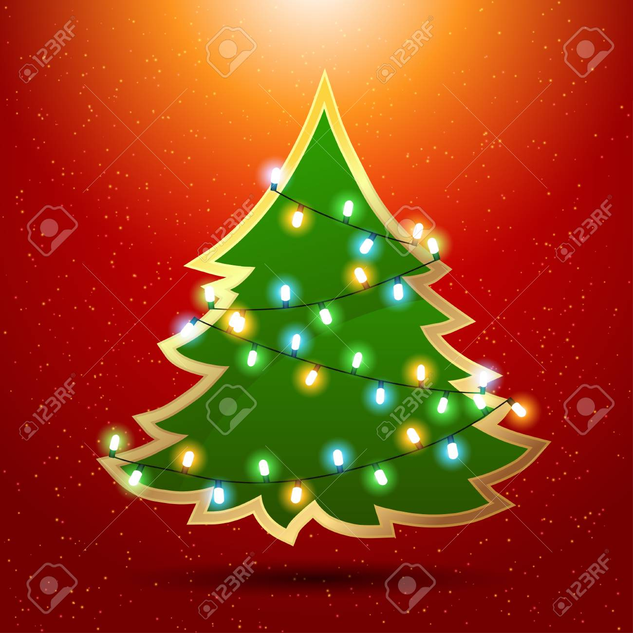 Christmas background with luminous garland and tree Stock Vector - 15997342