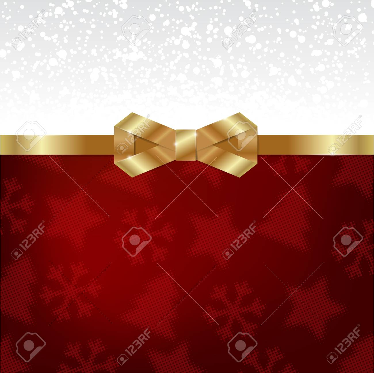 Elegant Christmas background with shiny gold bow Stock Vector - 16437664