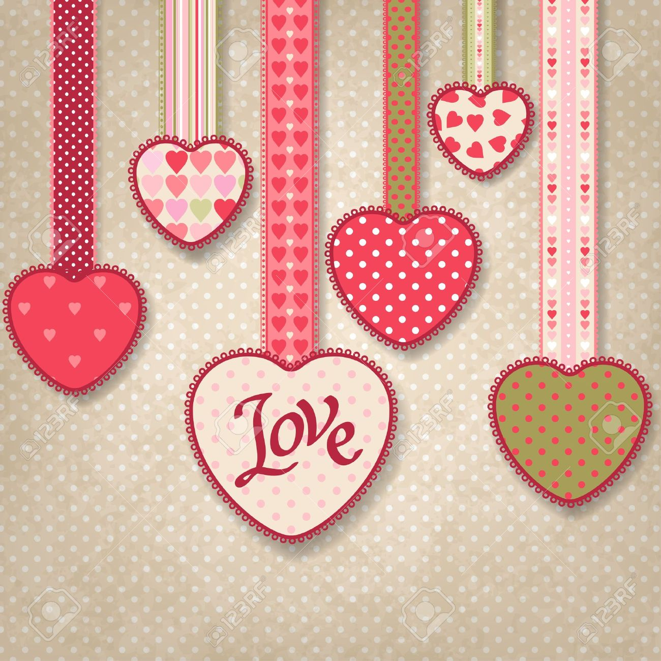 retro background of vintage design with hearts royalty free