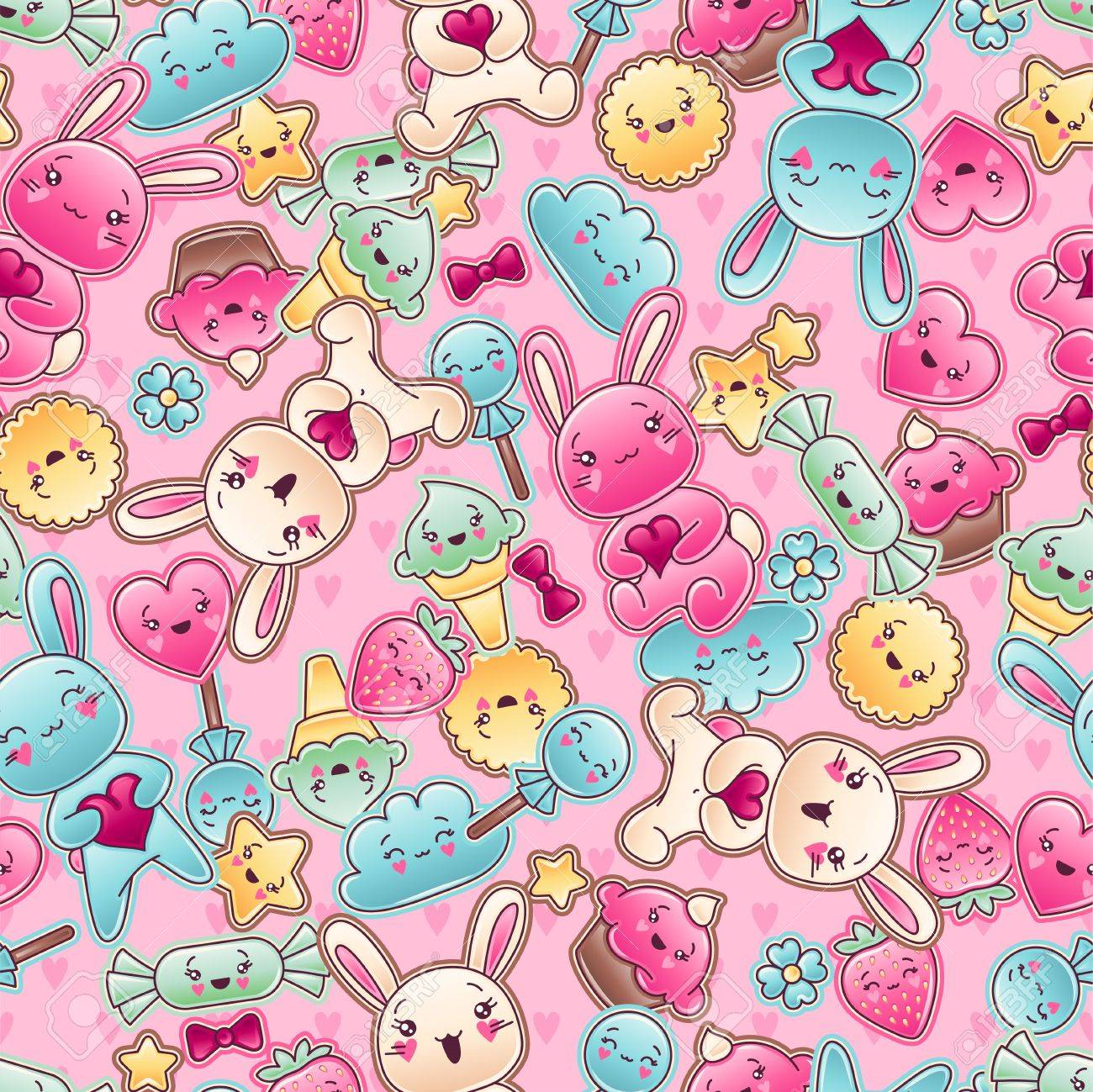 Seamless kawaii child pattern with cute doodles Stock Vector - 16933450