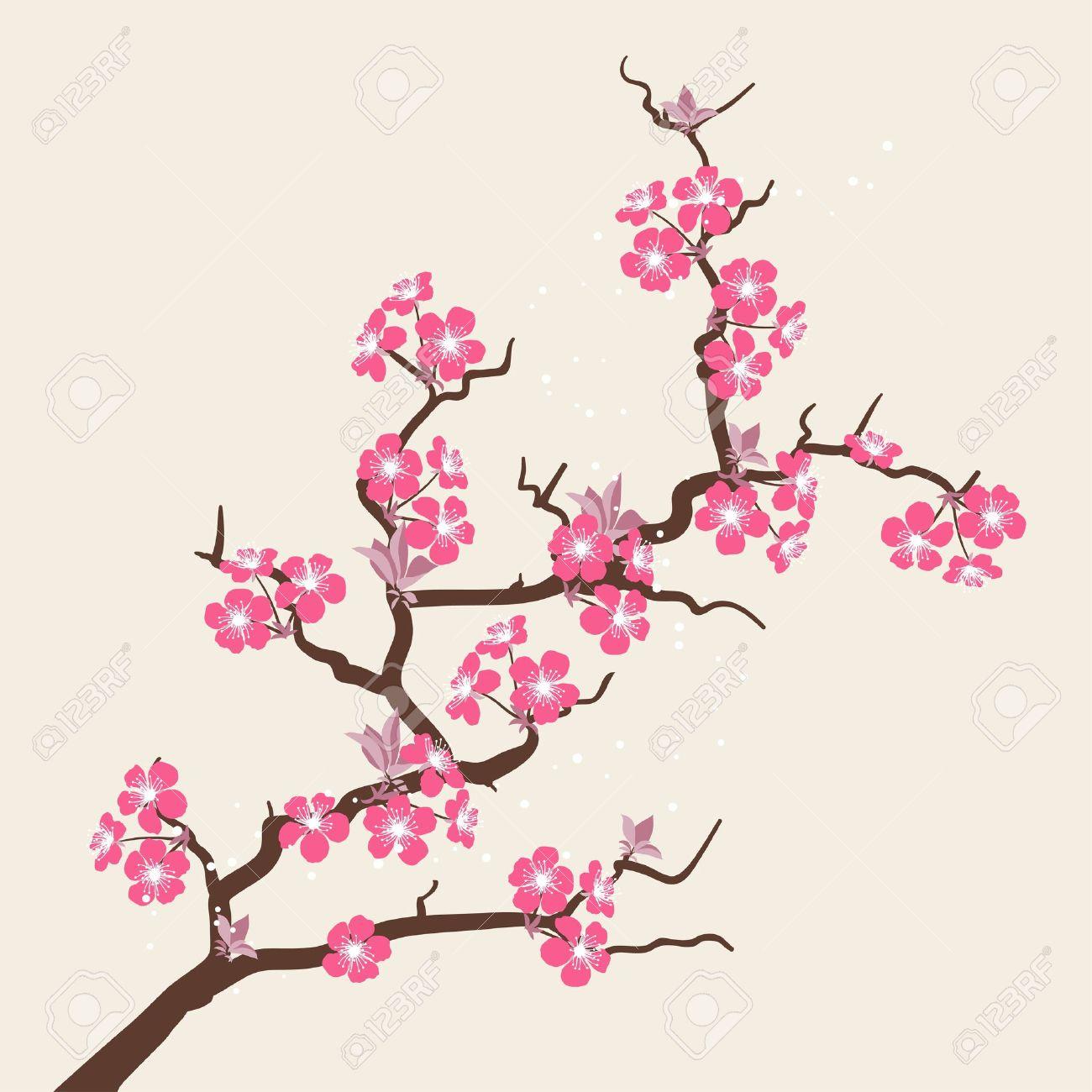Fleurs Stylisées carte avec des fleurs stylisées de fleurs de cerisier clip art