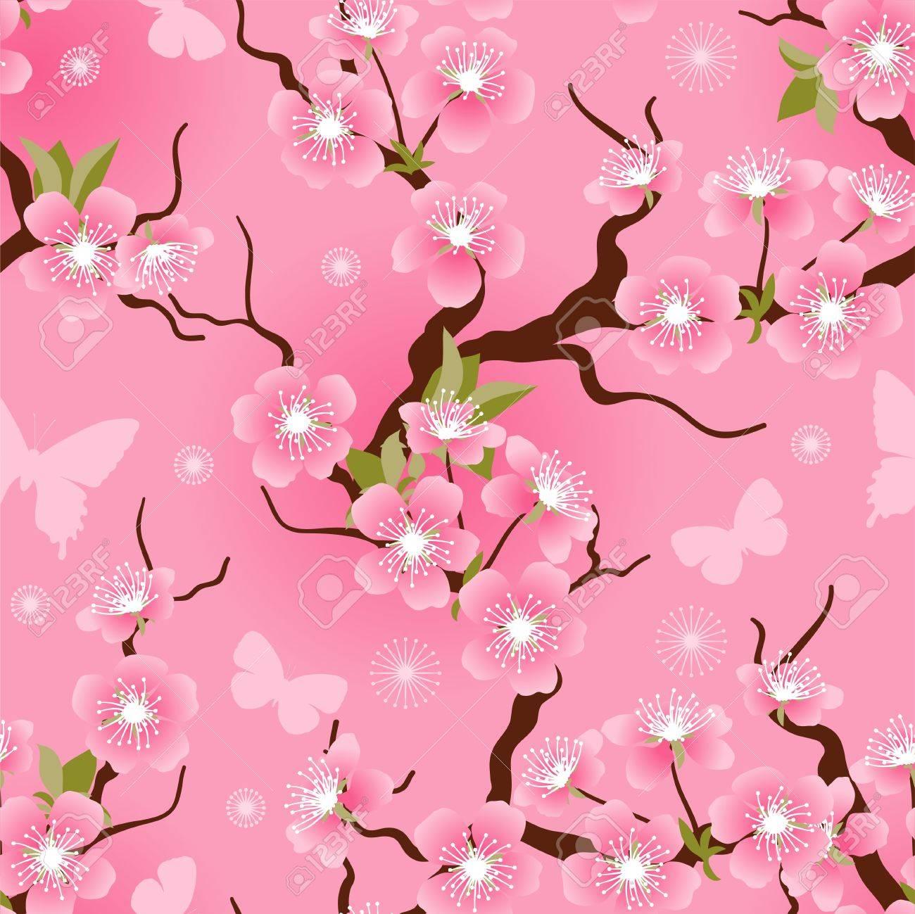 Cherry blossom seamless flowers pattern - 17284054