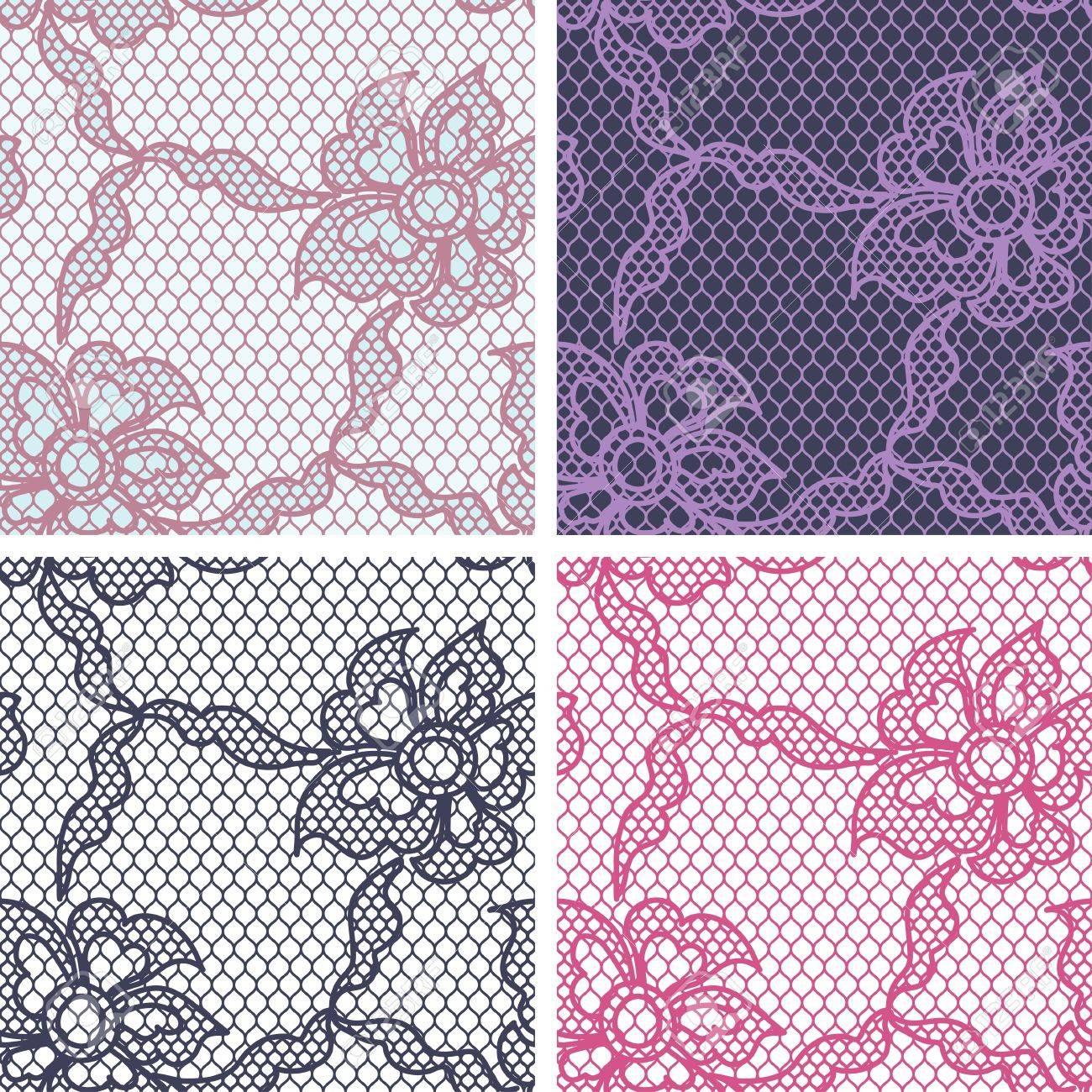 Set of lace seamless patterns with abstact flowers Stock Vector - 17925402