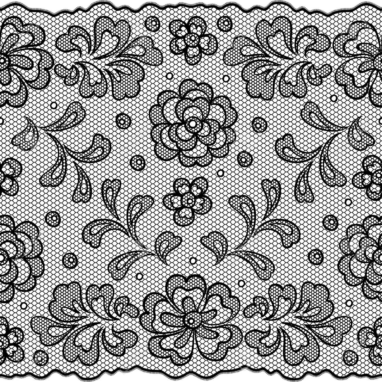 Lace Fabric Seamless Border With Abstact Flowers Royalty Free ...