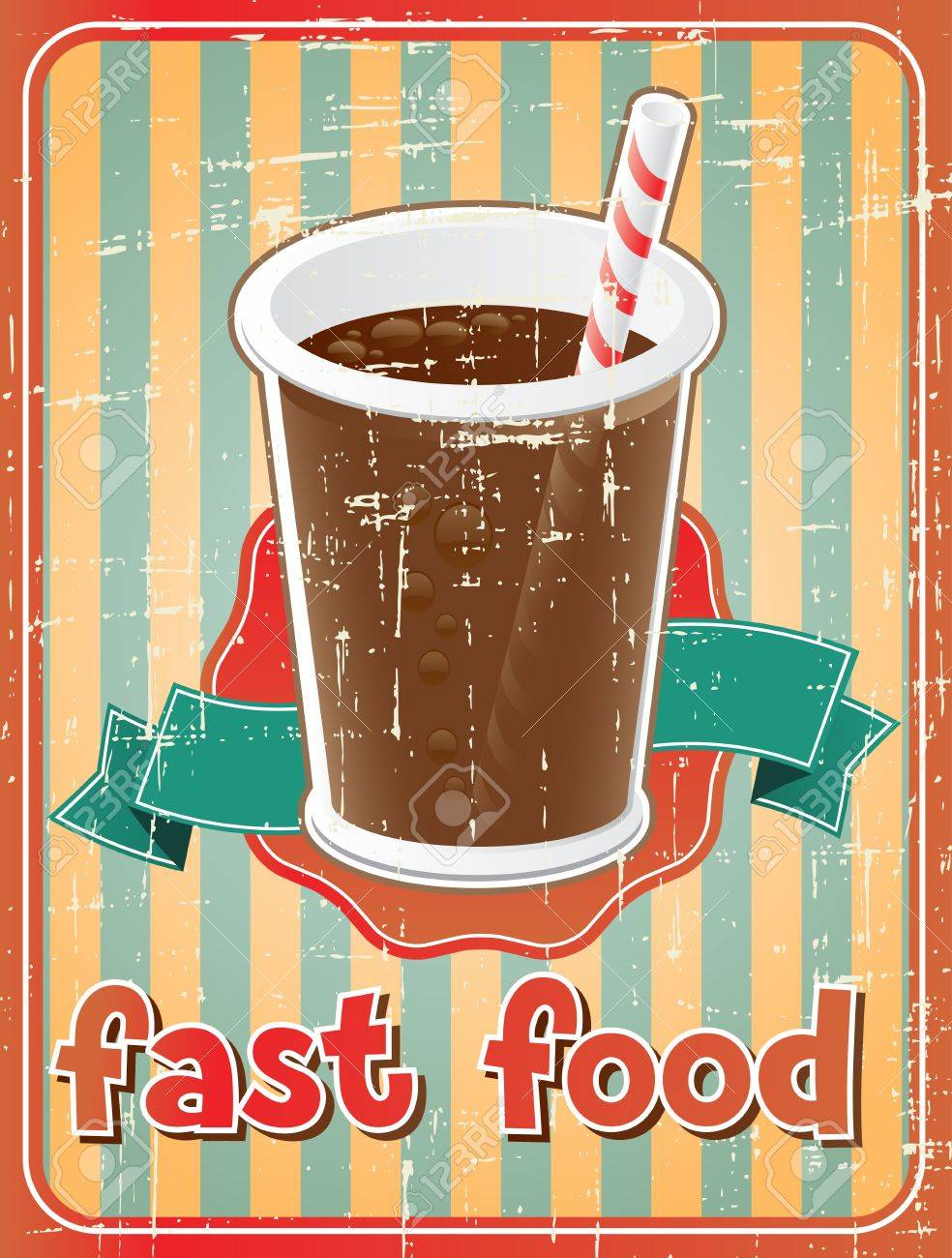 Fast food background with drink in retro style Stock Vector - 18352633