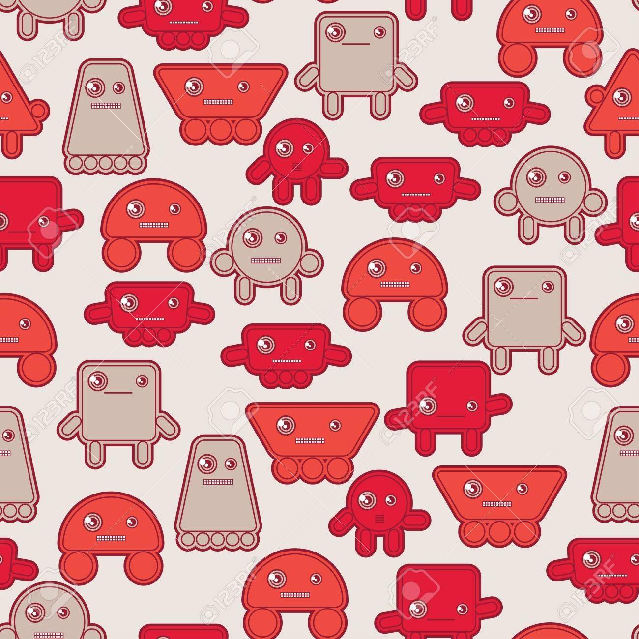 Cartoon robots seamless pattern Stock Vector - 18461767
