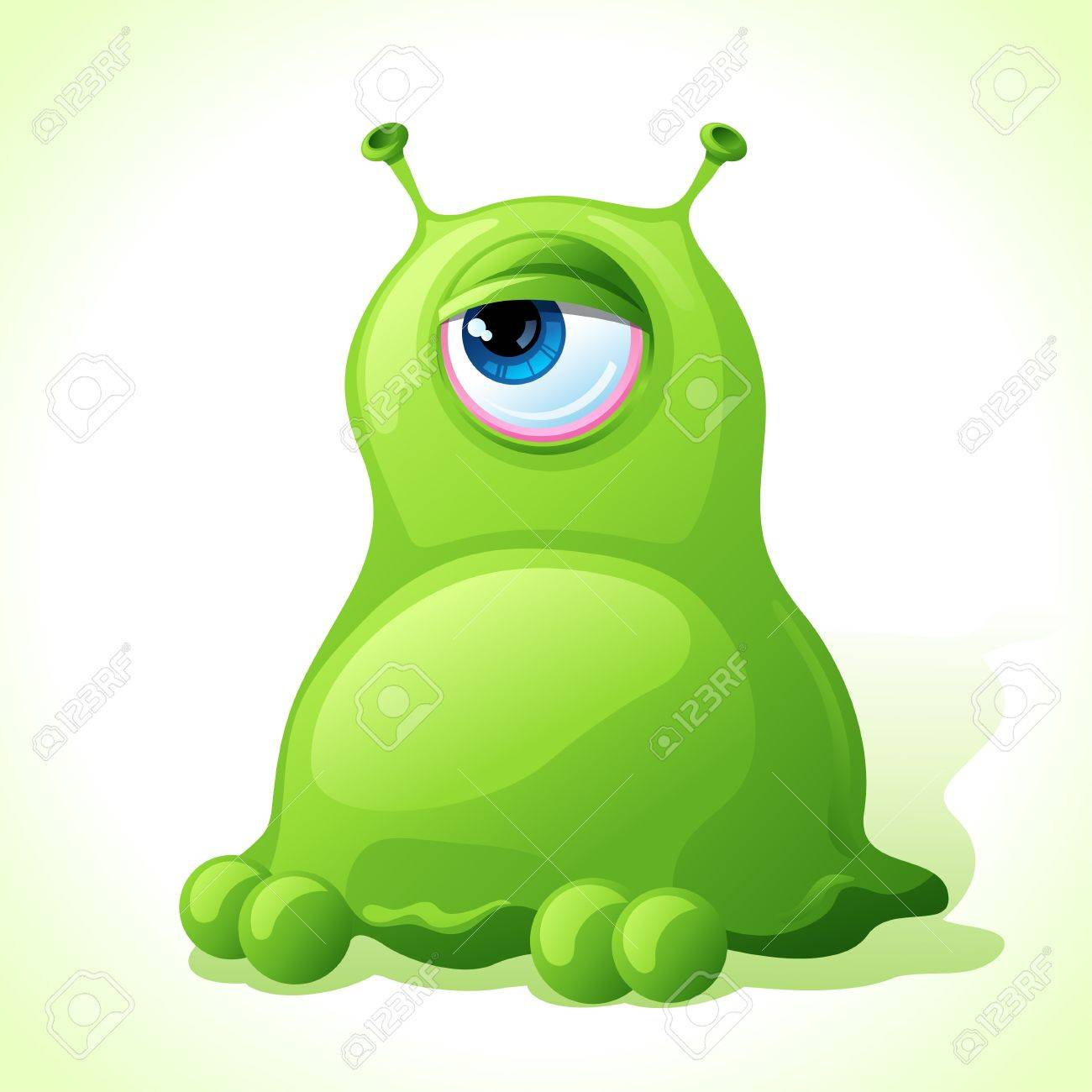 Vector cute green monster isolated on white background Stock Vector - 18664237
