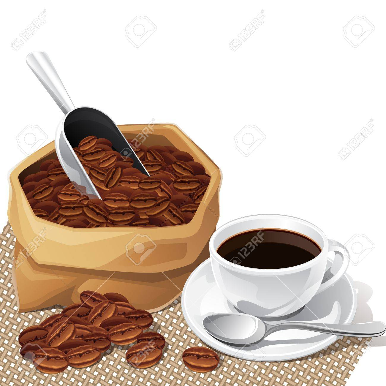 Background with cup and bag of coffee beans Stock Vector - 18767499