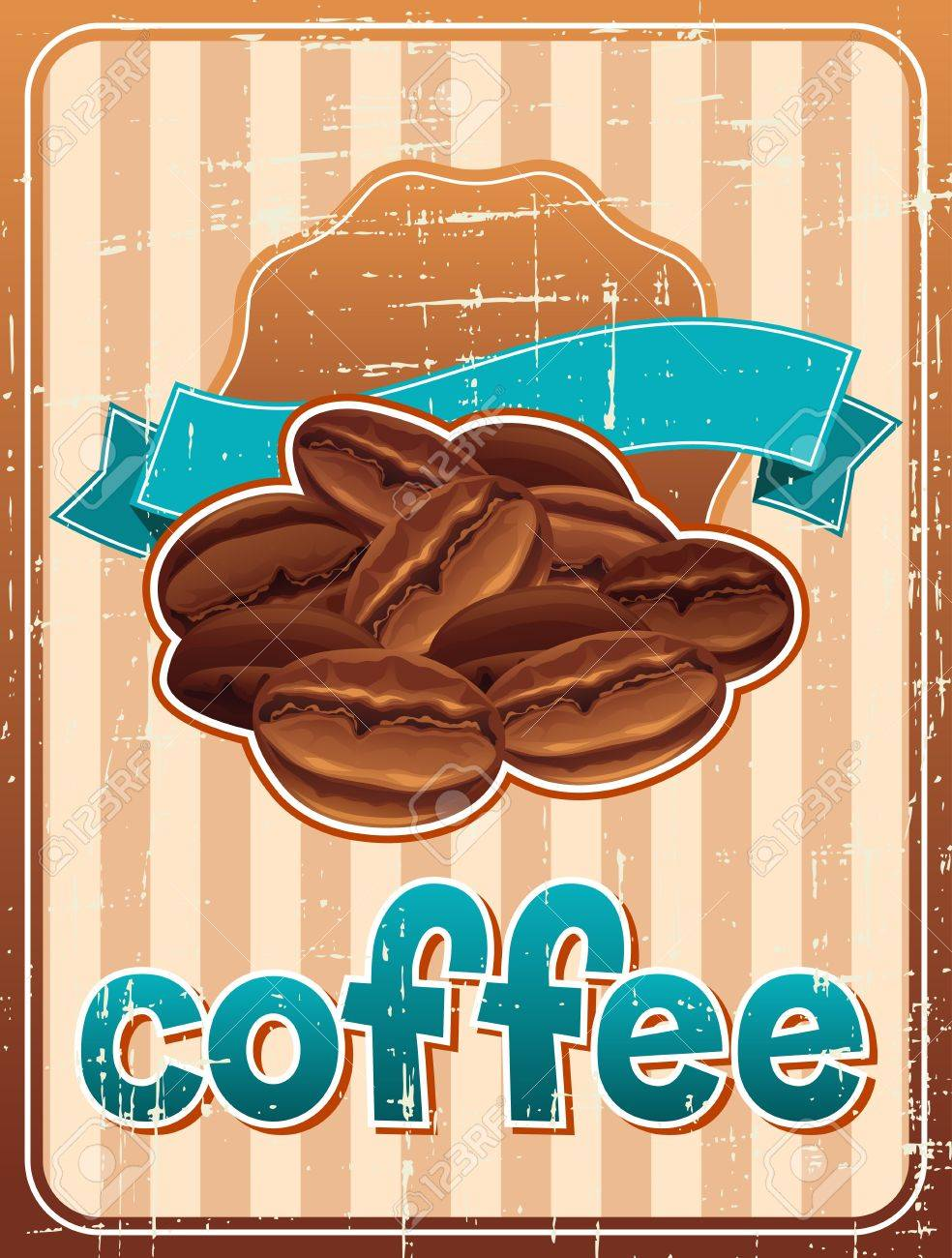 Poster with coffee beans in retro style Stock Vector - 18767494