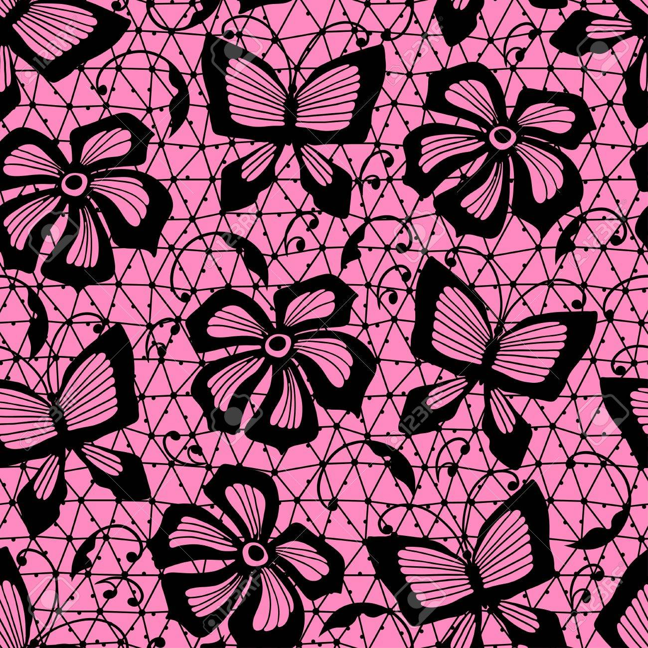 Seamless lace pattern with butterflies and flowers Stock Vector - 18992567