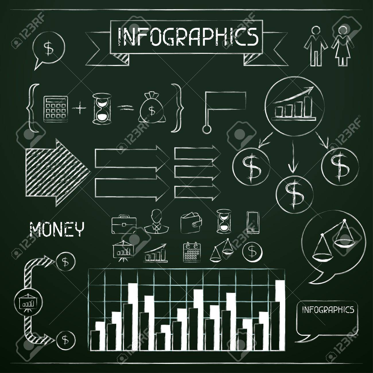 Set of chalkboard infographics and business icons Stock Vector - 19657306