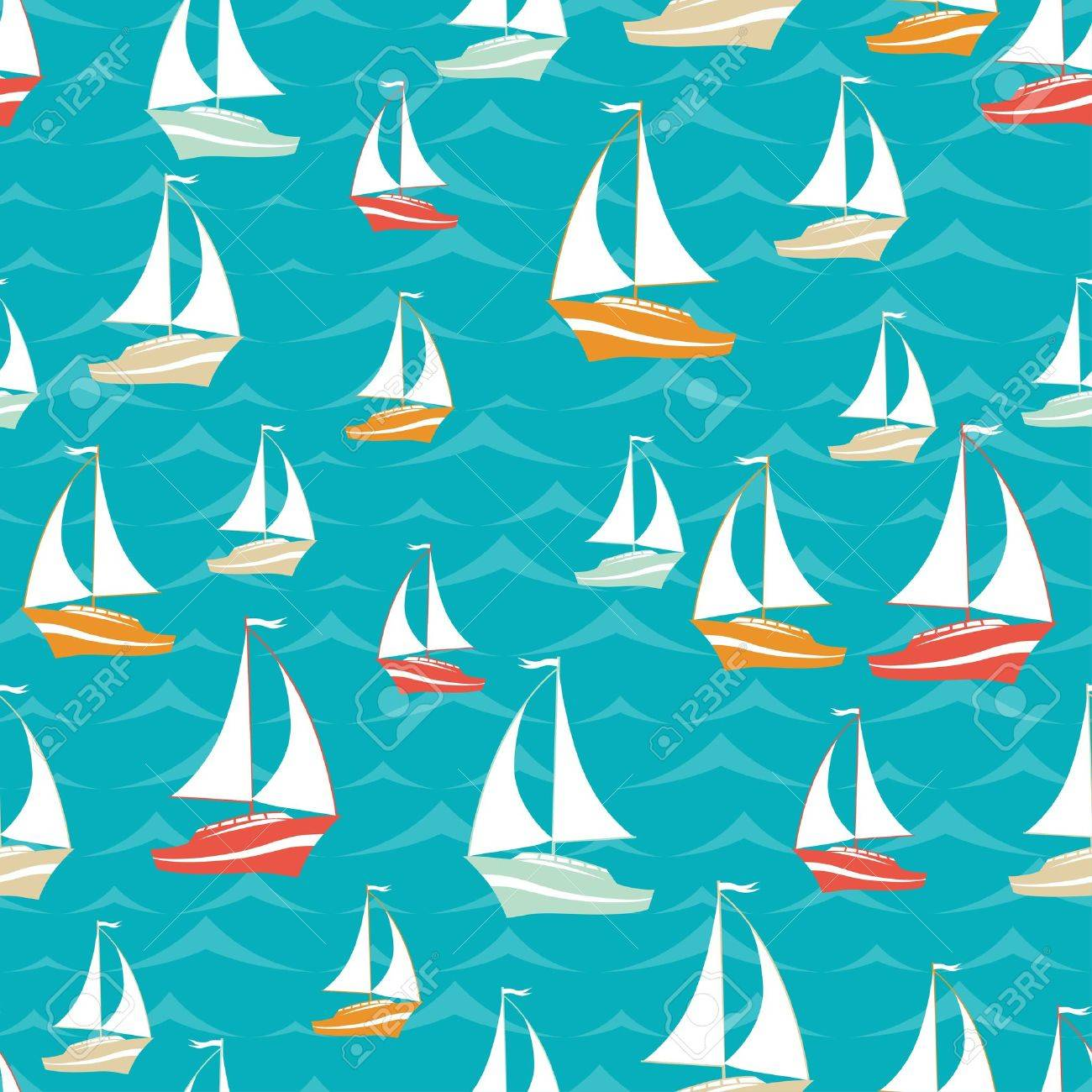 White Sailboats Pattern On A Blue Riverboat Background