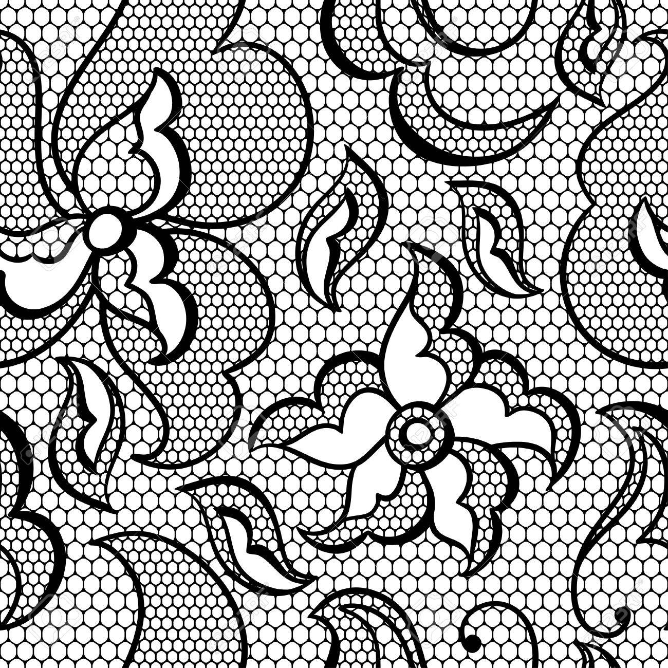 Lace fabric seamless pattern with abstract flowers. Stock Vector - 20478536