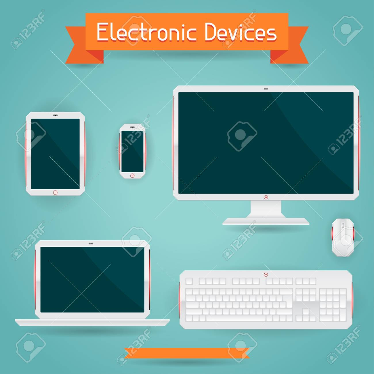 Electronic devices - computer, laptop, tablet and phone. Stock Vector - 20481924