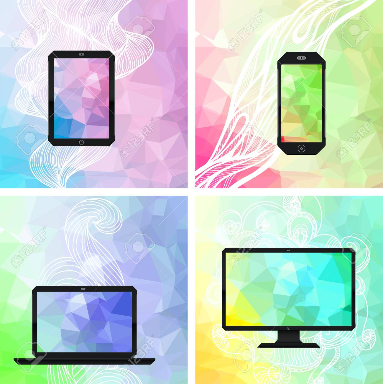 Electronic devices backgrounds. Stock Vector - 20481890