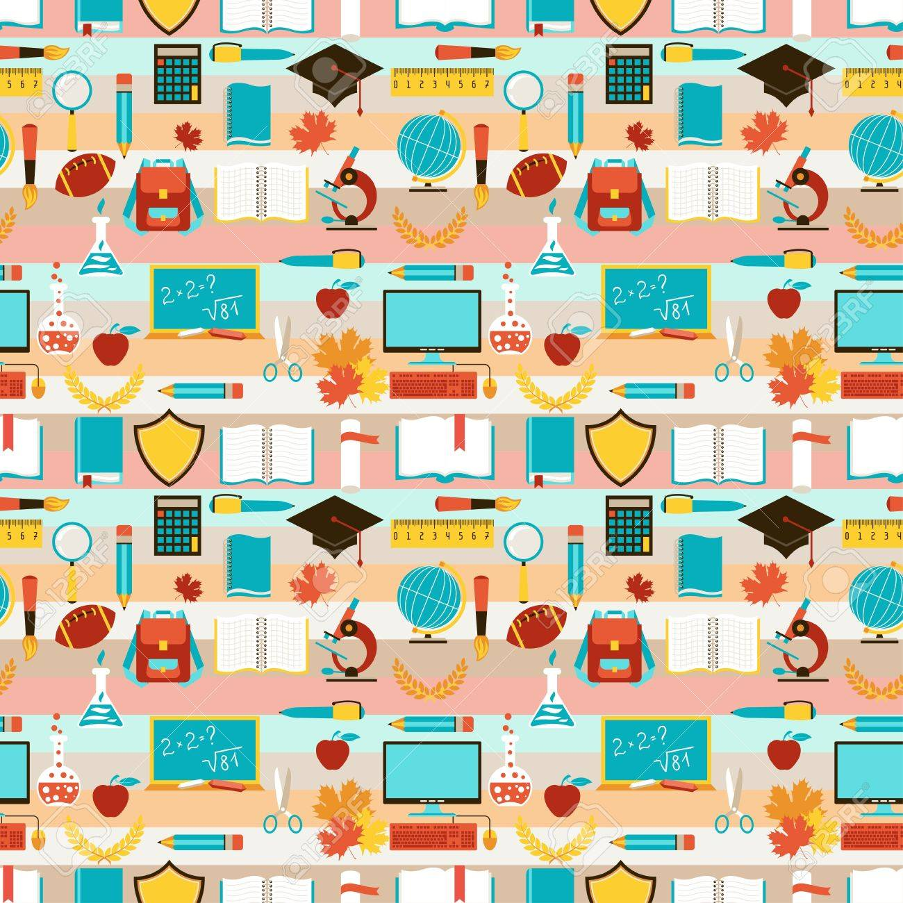 Seamless pattern with school icons. Stock Vector - 20503126