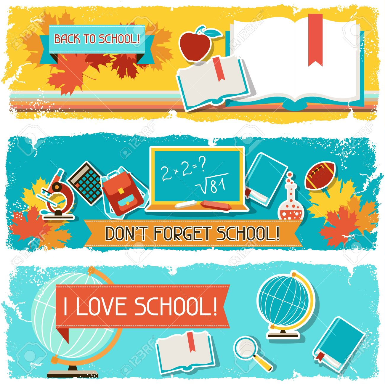 Horizontal banners with an illustration of school objects. Stock Vector - 20503122