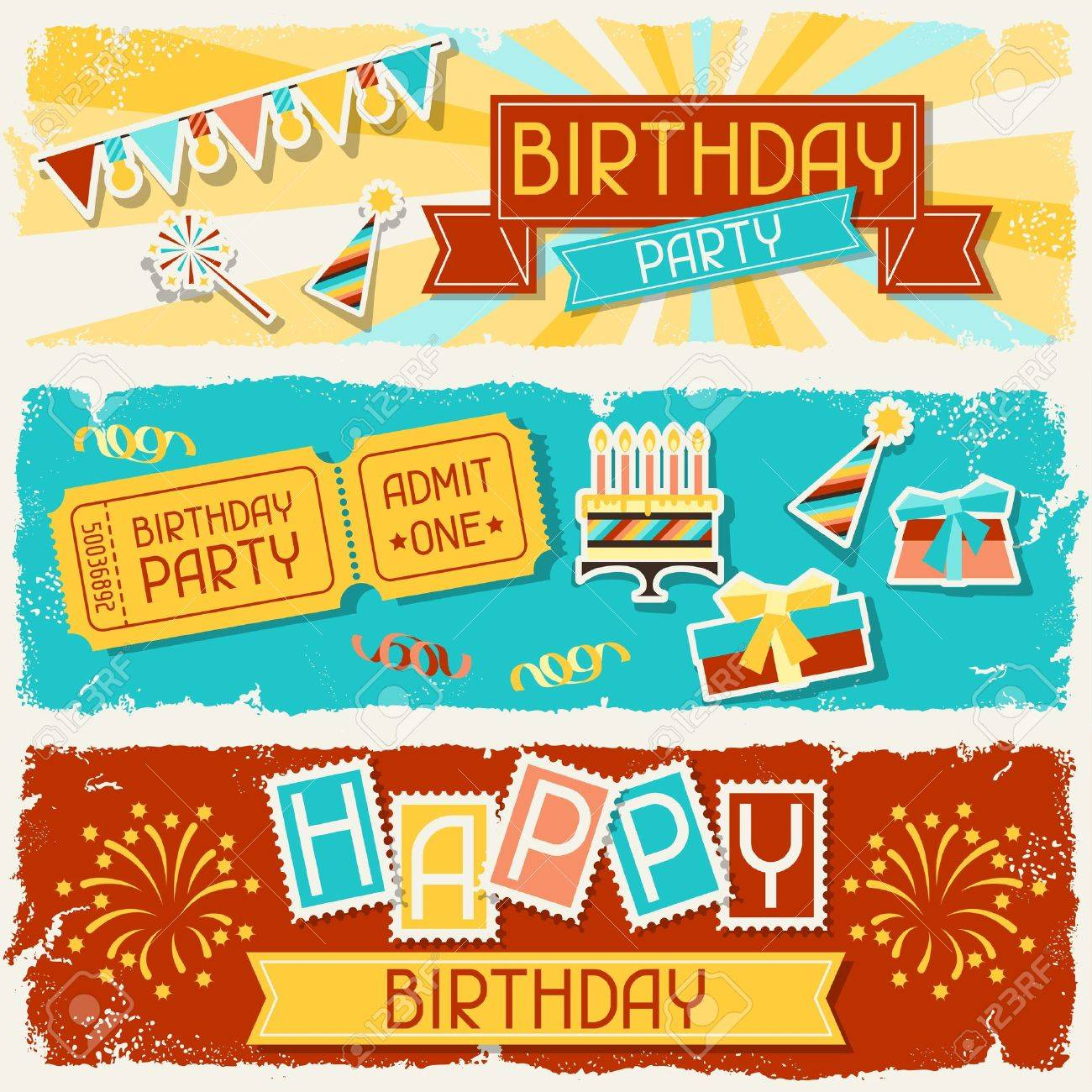 Happy Birthday horizontal banners. Stock Vector - 20503149