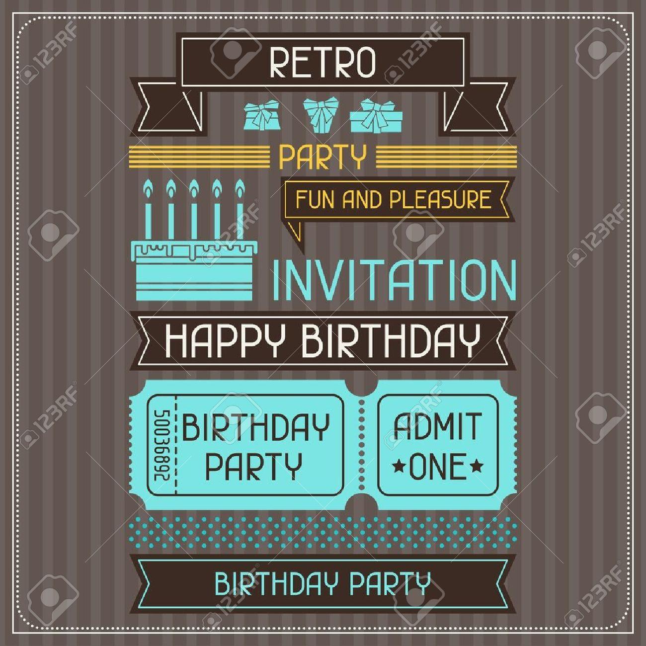 Tarjeta De Invitación Para Cumpleaños En Estilo Retro