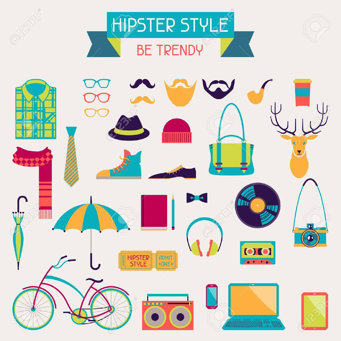 Hipster style elements and icons set for retro design Stock Vector - 20913509