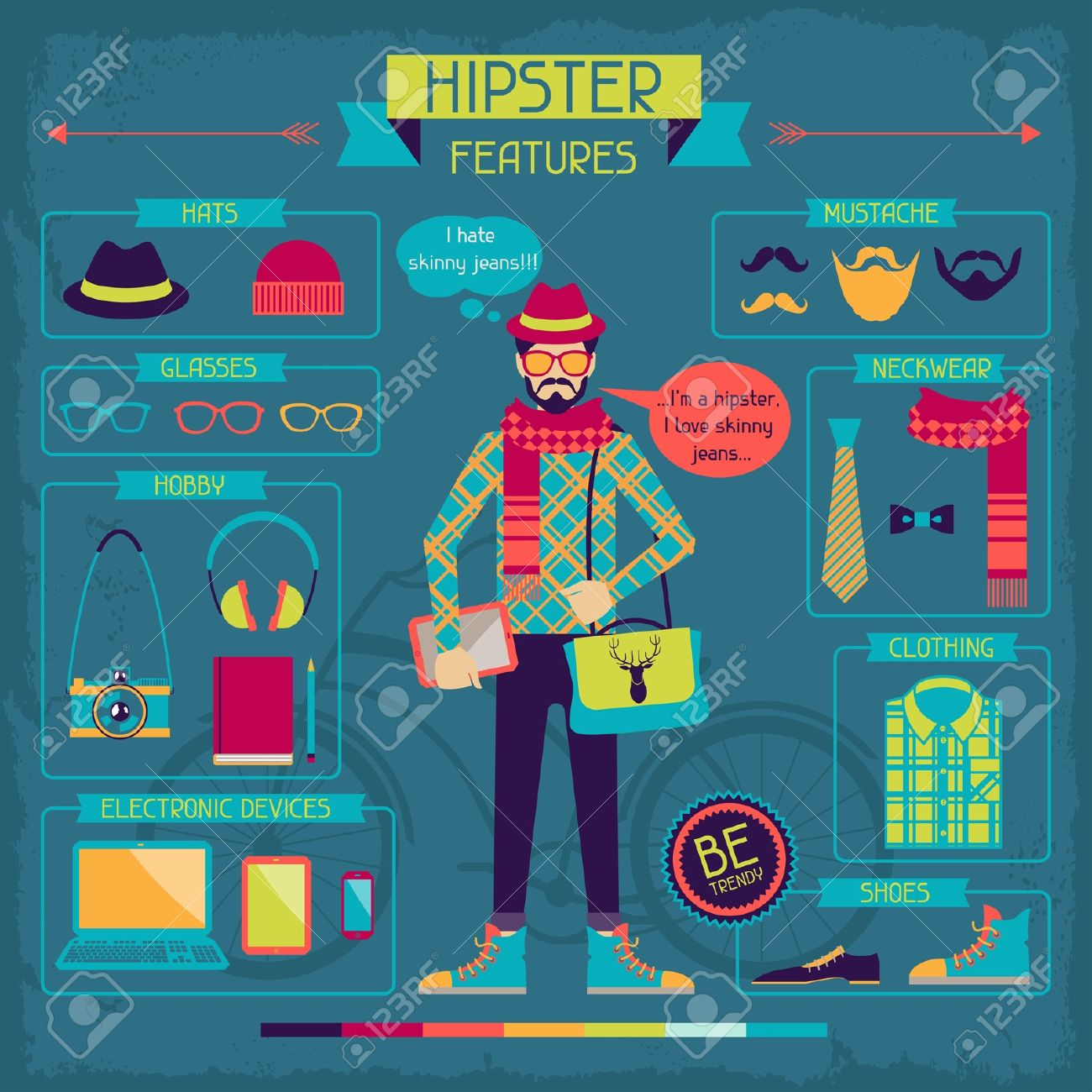 Infographic elements in retro style. Hipster features. Stock Vector - 20916189